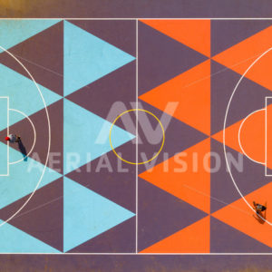 Basketball Court Top-down - Aerial Vision Stock Imagery