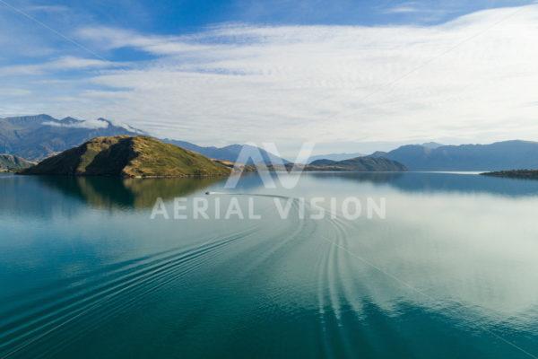 Boat on Lake Wanaka - Aerial Vision Stock Imagery