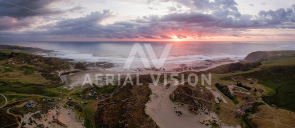 Omapere Sunset Panorama - Aerial Vision Stock Imagery