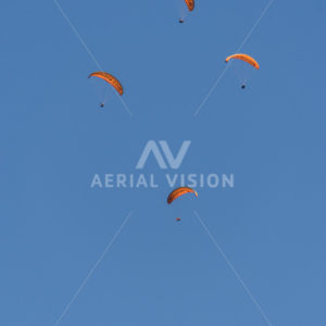 Queenstown Paragliders with Moon - Aerial Vision Stock Imagery