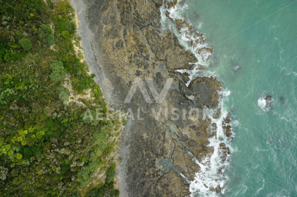 Rocky Shoreline Top-down - Aerial Vision Stock Imagery