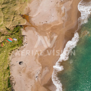 Sandy Beach with Kayak Top-down - Aerial Vision Stock Imagery