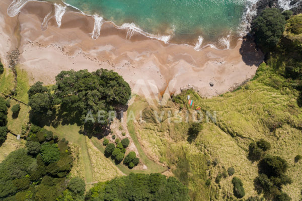Sandy Beach with Kayak Top-down #2 - Aerial Vision Stock Imagery