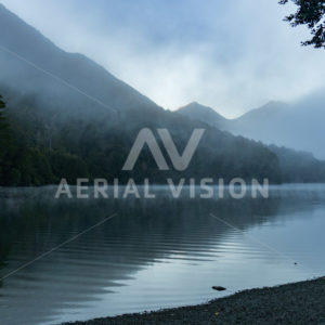South Island lake fog - Aerial Vision Stock Imagery
