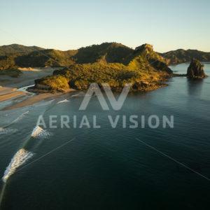 Sunrise on Awana Beach, Great Barrier Island - Aerial Vision Stock Imagery